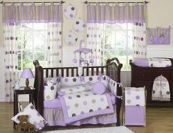 Sweet Jojo Designs Purple Polka Dot 9-piece Crib Bedding Set - Thumbnail 1