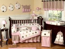 Pink Polka Dot 9-piece Crib Bedding Set - Thumbnail 1