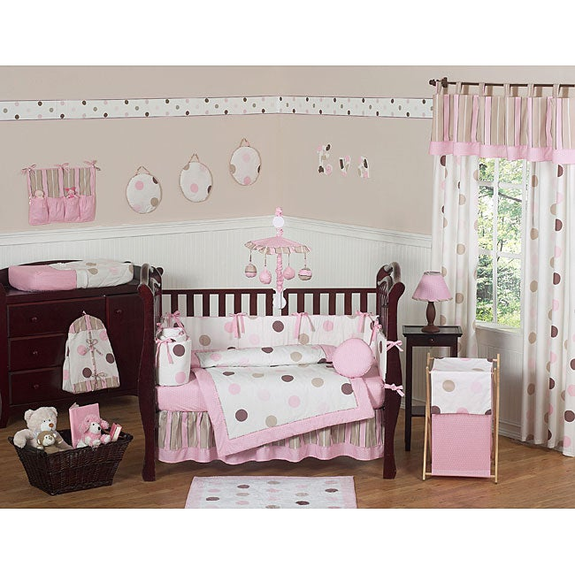 shop pink polka dot 9 piece crib bedding set free shipping today 5298469. Black Bedroom Furniture Sets. Home Design Ideas