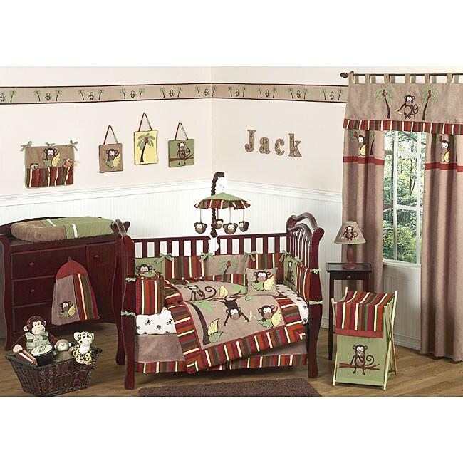 Sweet Jojo Designs Monkey 9-piece Crib Bedding Set