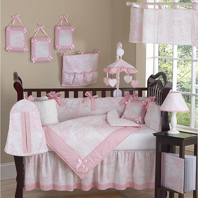 Shop Pink Toile 9 Piece Crib Bedding Set Free Shipping