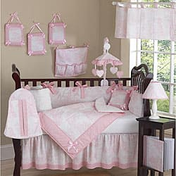 Pink Toile 9-piece Crib Bedding Set|https://ak1.ostkcdn.com/images/products/5298477/Pink-Toile-9-piece-Crib-Bedding-Set-P13109472.jpg?impolicy=medium