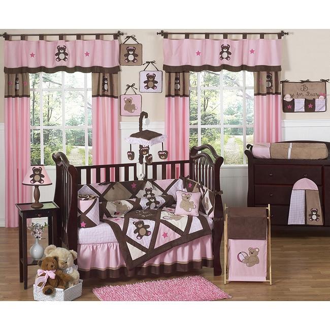 Sweet Jojo Designs Pink Teddy Bear 9-piece Crib Bedding Set