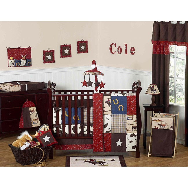 Sweet Jojo Designs Cowboy 9-piece Crib Bedding Set - Thumbnail 0
