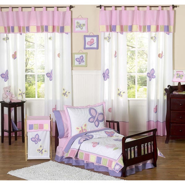 Sweet JoJo Designs Pink/ Purple Butterfly Collection 5-piece Toddler Girls's Bedding Set