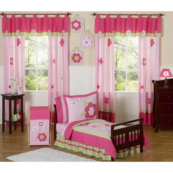Sweet JoJo Designs Pink and Green Flower Collection 5-piece Toddler Girl's Bedding Set
