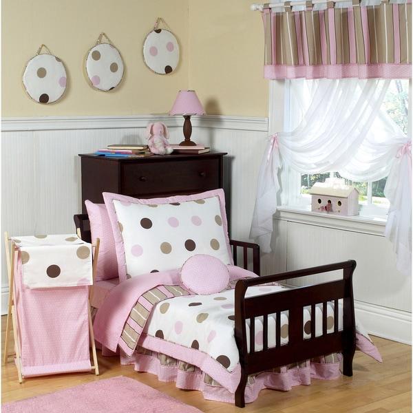 Sweet JoJo Designs Pink/ Brown Modern Polka Dot 5-piece Toddler Girl's Bedding Set. Opens flyout.