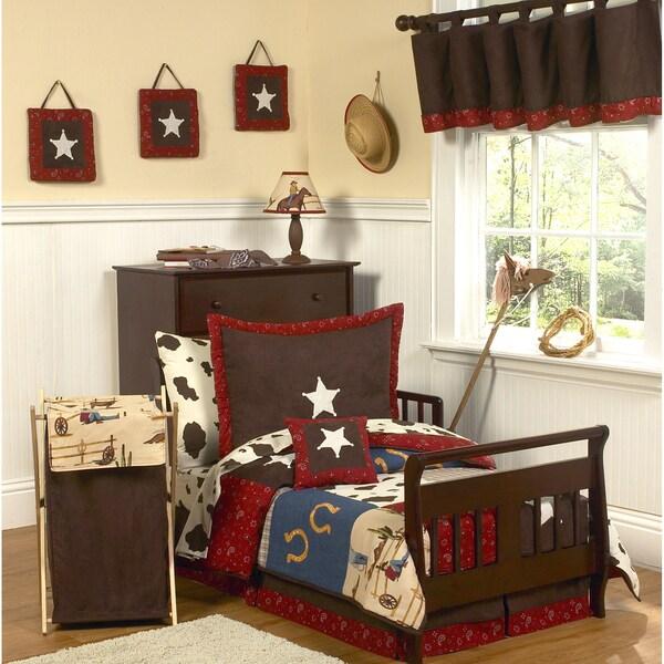 Sweet JoJo Designs Wild West Cowboy Western Horse 5-piece Toddler Boy's Bedding Set