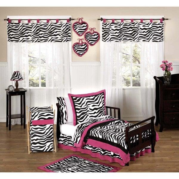 Sweet JoJo Designs Pink, Black and White Funky Zebra Print 5-piece Toddler Girl's Bedding Set