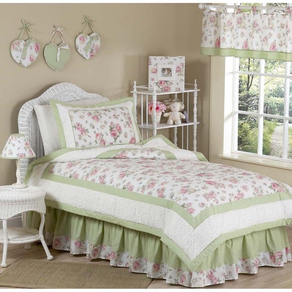 Sweet JoJo Designs Riley's Roses Floral 4-piece Girl's Twin-size Bedding Set
