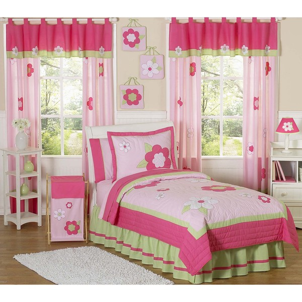 Sweet JoJo Designs Pink/ Green 4-piece Twin-size Comforter Set