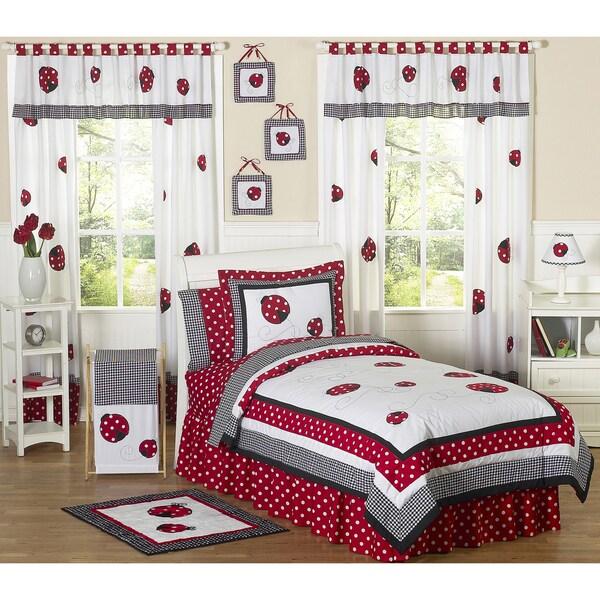 Sweet JoJo Designs Red/ White 4-piece Twin-size Comforter Set
