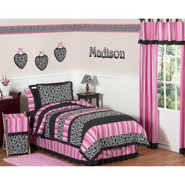 Sweet JoJo Designs Pink/ Black 4-piece Twin-size Comforter Set