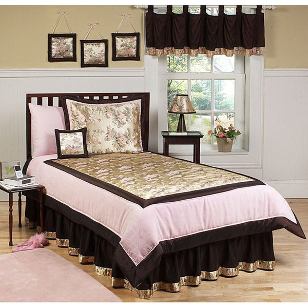 shop sweet jojo designs pink brown 3 piece full queen size comforter set free shipping today. Black Bedroom Furniture Sets. Home Design Ideas