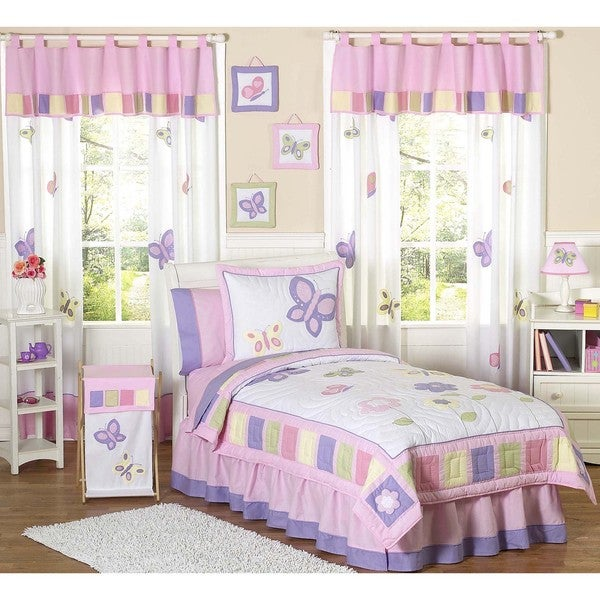 Sweet JoJo Designs Butterfly 3-piece Girls Queen-size Quilt Set