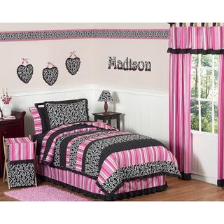 Sweet JoJo Designs Girl's Pink/ Black Madison 3-piece Full/ Queen-size Quilt Set