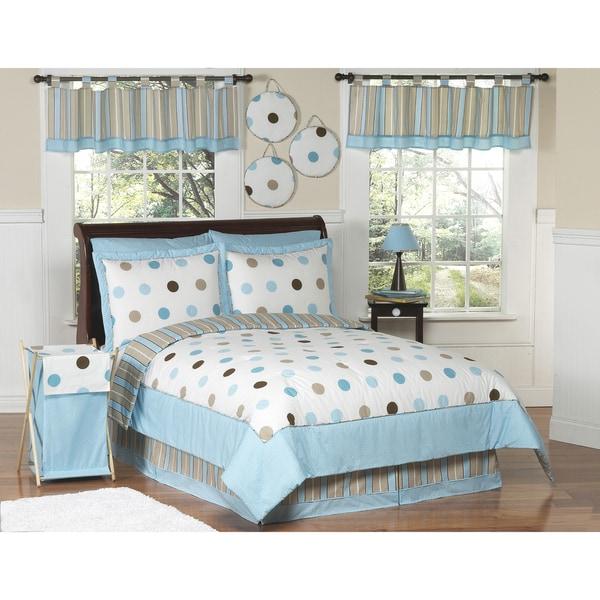 Sweet JoJo Designs Kids' Blue/ Brown Polka Dot 3-piece Full/ Queen-size Quilt Set
