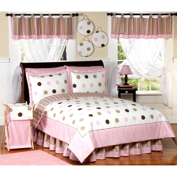 Sweet JoJo Designs Girl's Pink/ Brown Polka Dot 3-piece Full/ Queen-size Quilt Set