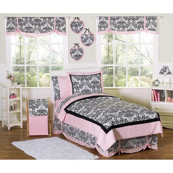 Sweet JoJo Designs Pink and Black Sophia 3-pc Girl's Full/ Queen-size Bedding Set