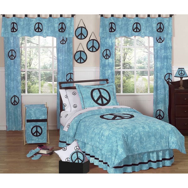 Sweet JoJo Designs Turquoise Peace Out 3-piece Girl's Full/ Queen-size Bedding Set