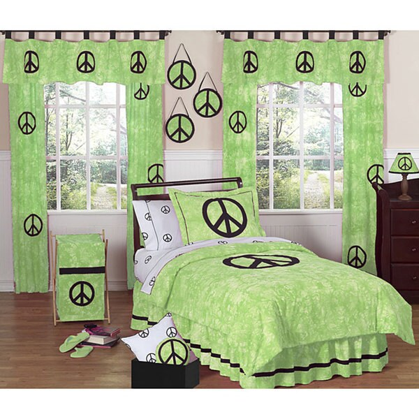 Sweet JoJo Designs Lime Peace Out 3-piece Girl's Full/ Queen-size Bedding Set