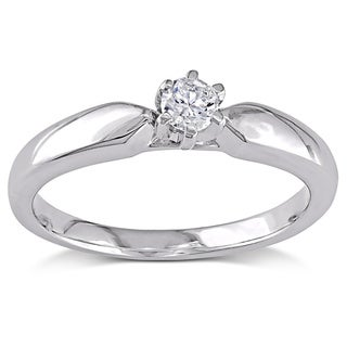 Miadora 14k White Gold 1/4ct TDW 6-Prong Diamond Solitaire Engagement Ring