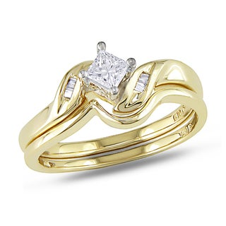 Miadora 14k Yellow Gold 1/4ct TDW Diamond Bridal Set