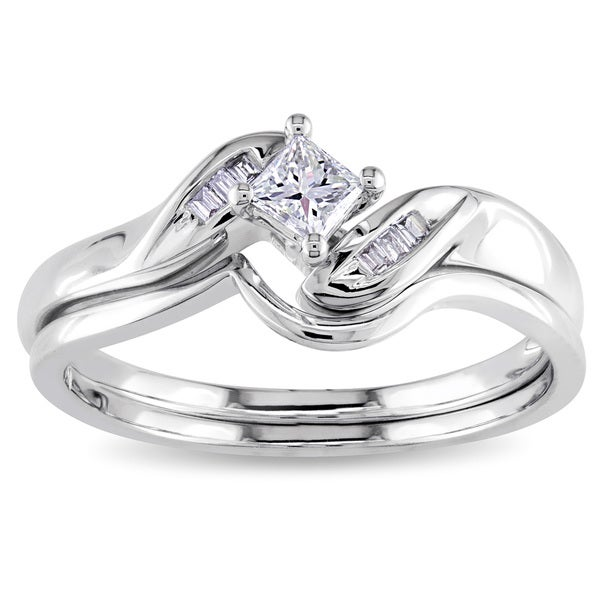 Miadora 14k White Gold 1/4ct TDW Diamond Bridal Set