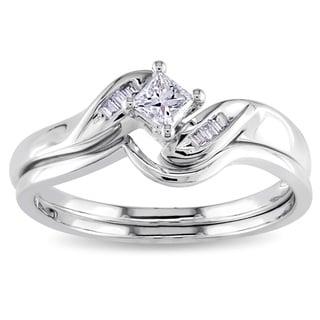 Miadora 14k White Gold 1/4ct TDW Diamond Bridal Set