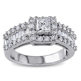 Miadora Signature Collection 14k White Gold 1 3/8ct TDW Princess and Baguette Diamond Ring