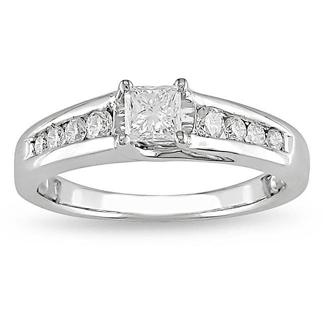 Miadora 14k White Gold 1/2ct TDW Diamond Engagement Ring (G-H, I1-I2) - Thumbnail 0
