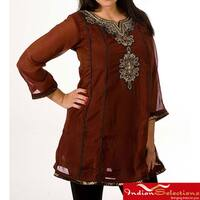 Handmade Women's Georgette Brown with Golden Embroidery Kurti/ Tunic (India)