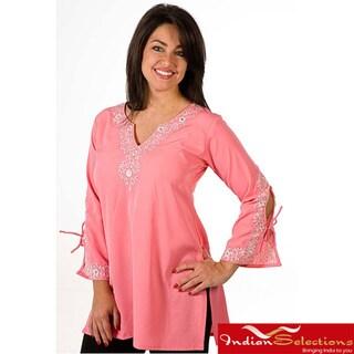 Handmade Women's Soft Crepe Pink Kurti/ Tunic (India)
