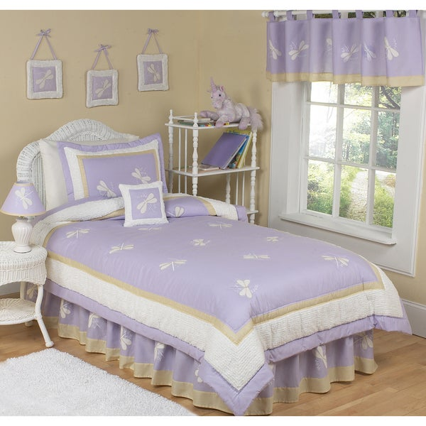 Sweet JoJo Designs Lavender Dreams Dragonfly 4-piece Twin-size Bedding Set