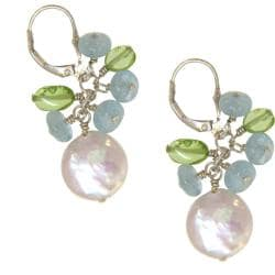 Misha Curtis Sterling Silver Aquamarine, Pearl and Peridot Earr