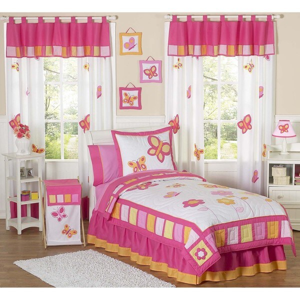 Sweet JoJo Designs Pink and Orange Butterfly 4-piece Twin-size Girl's Bedding Set