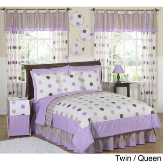 Sweet JoJo Designs Purple and Brown Polka Dot Bedding Set