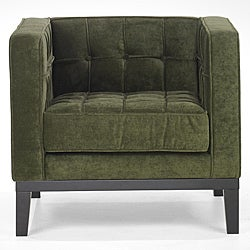 Green Chenille/ Hardwood Chair - Thumbnail 0