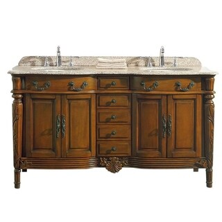 Karen 60 inch Vanity in Chestnut with Granite Vanity Top in Beige with White Basin