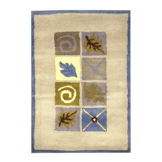 Herat Oriental Indo Hand-tufted Leaf Print Beige/ Blue Wool Rug (2' x 3')