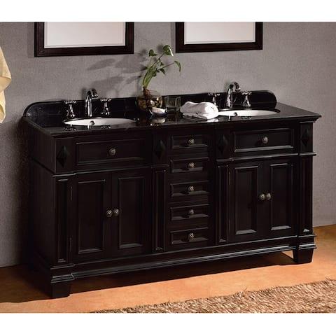 OVE Decors 60-inch Eliza Double Sink Bathroom Vanity with Granite Top