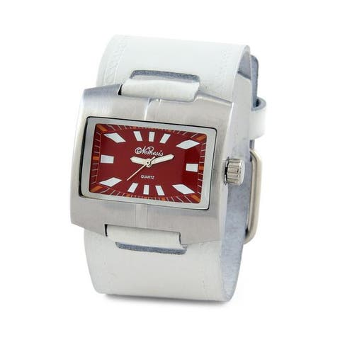 Nemesis Men's Stainless Steel White Suede Leather Watch