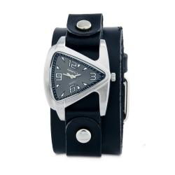 Nemesis Women's Classic Black Triangle Leather Cuff Watch