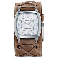 Nemesis Men's Signature Brown Leather Cuff Watch