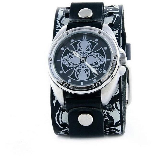 Nemesis Men's Racing Skull Leather Strap Quartz Watch