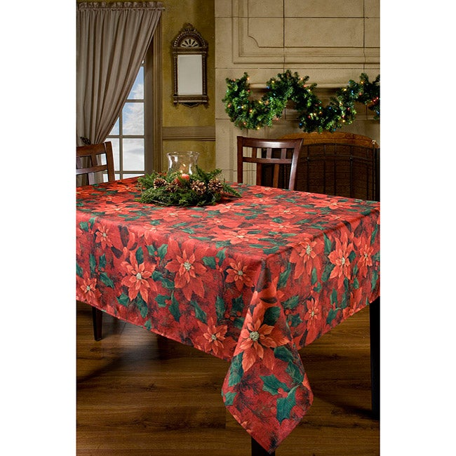 Poinsettia Elegance Printed Oblong Tablecloth 60x104 Inches