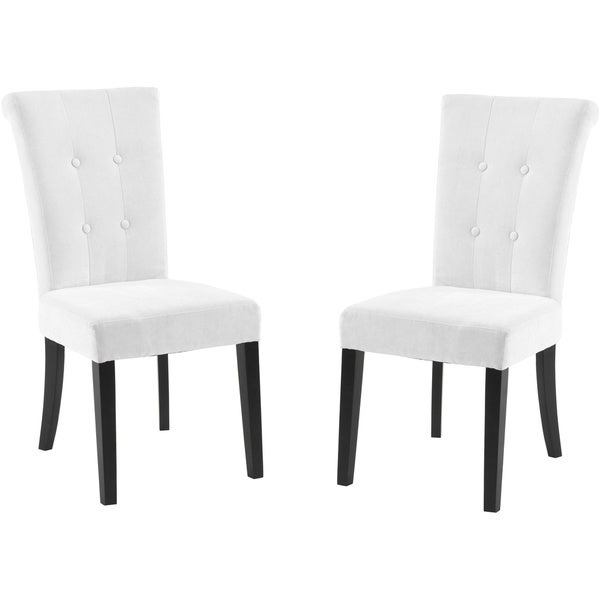 Tufted off white fabric dining chair set of 2 free for White fabric dining chairs