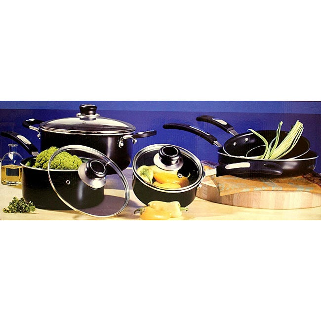 Oster Black 8-piece Aluminum Cookware Set - Free Shipping ...
