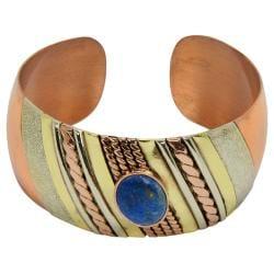 Multi-toned Copper Lapis Layered Cuff Bracelet (Chile) - Thumbnail 2
