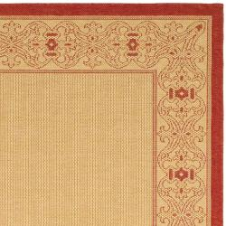 Safavieh Oceanview Natural/ Red Indoor/ Outdoor Rug (7'10 Square) - Thumbnail 1